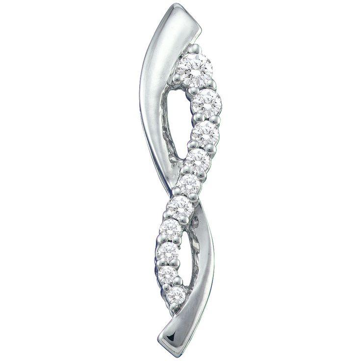 10kt White Gold Womens Round Natural Diamond Journey Fashion Pendant 1/4 Cttw