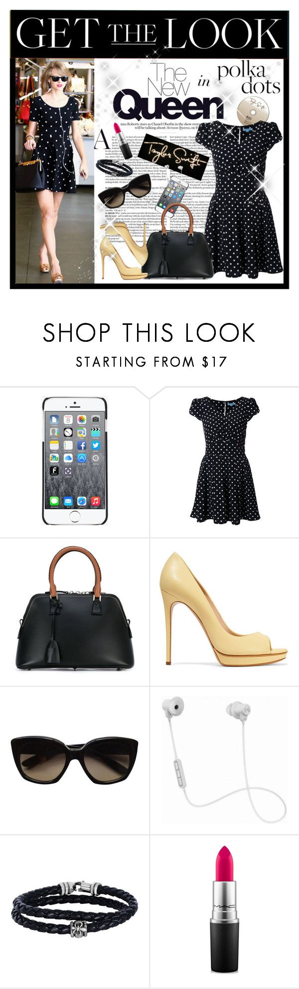 """Polka Dots and Taylor Swift"" by pomy22 ❤ liked on Polyvore featuring Moschino, Guild Prime, Maison Margiela, Casadei, Forum, Bottega Veneta, JBL, Phillip Gavriel, MAC Cosmetics and GetTheLook"