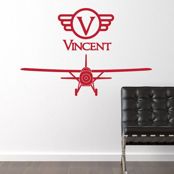 Airplane Vinyl Wall Decal Vintage Boy Wall Sticker Plane with Name - Custom  Name with Plane Bedroom Wall Decor Sticker - CB148
