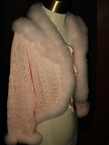 Girly pink!  Vintage 1920's or 30's knitted bed jacket with marabou trim.  How fabulous!