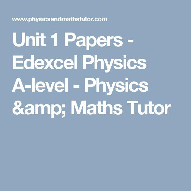 Unit 1 Papers - Edexcel Physics A-level - Physics & Maths Tutor