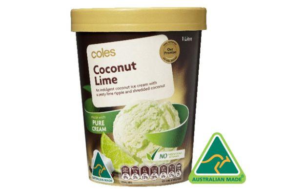Coles Brand Coconut Lime Ice Cream