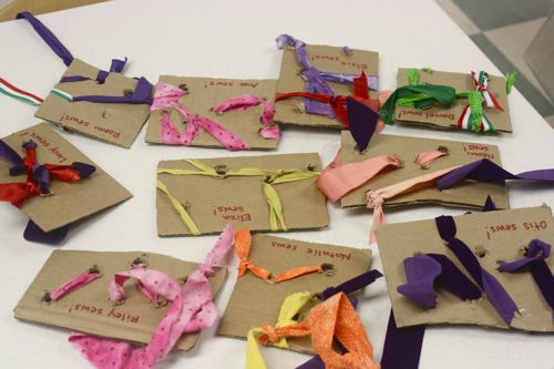 Ribbon Sewing with Cardboard