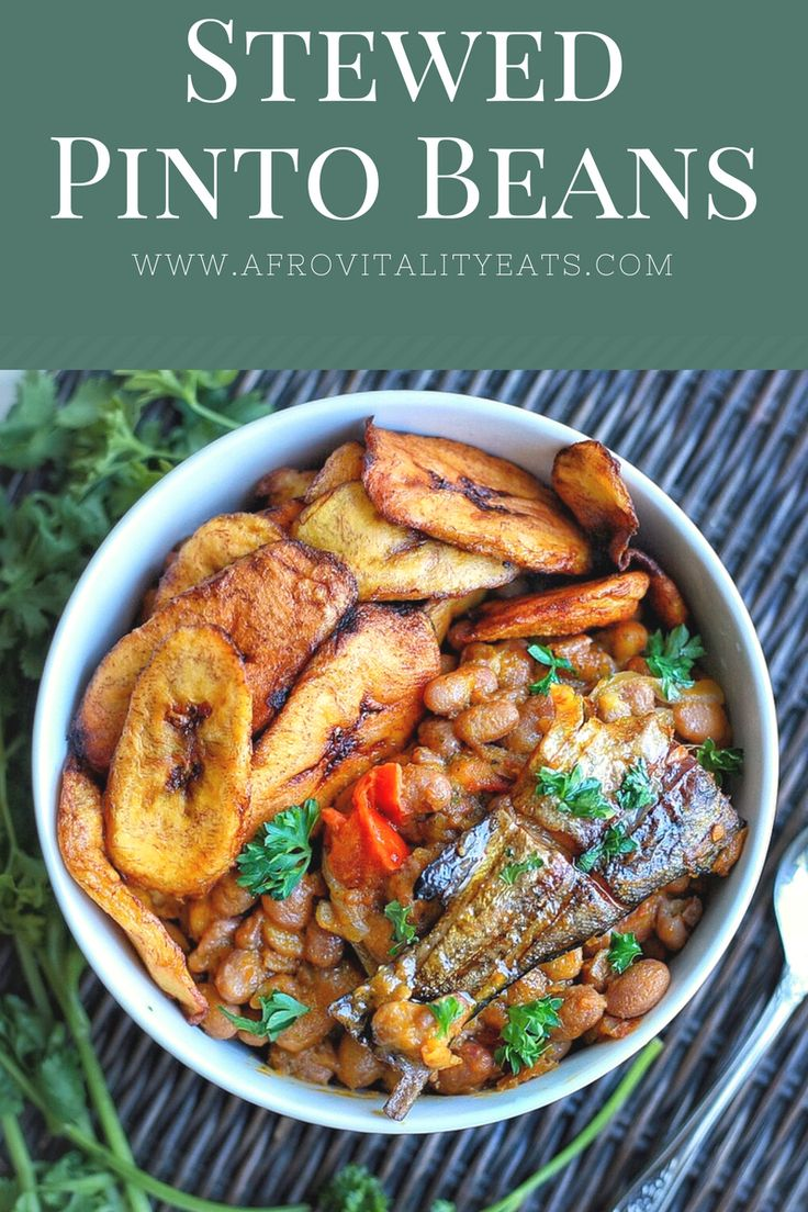 Cameroonian stewed pinto beans with smoked trout