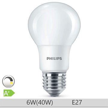 Bec LED Philips 6W E27 forma clasica A60, lumina calda