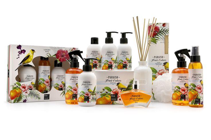 Linea Paraiso  Crema - Body Cream  Difusor - Home Diffuser Home Fragance Gel de Ducha - Gel Bath & Showers Perfume Body Splash Gift box