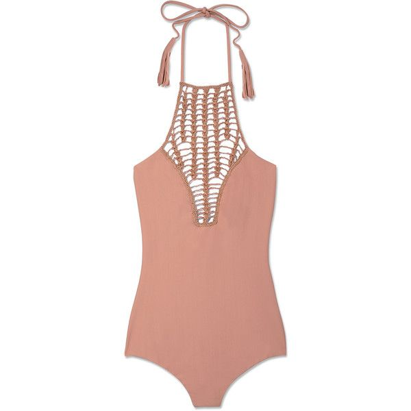 Acacia Swimwear Teahupo'o Swimsuit ($212) ❤ liked on Polyvore featuring swimwear, one-piece swimsuits, swimsuit, bikinis, swim, neutrals, halter top one piece swimsuit, swim suits, bikini swimsuit and swimsuits bikinis