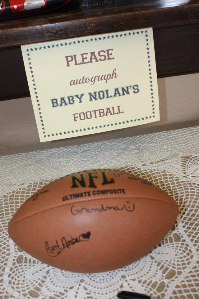 """Guest book"" for Sport themed baby shower  I LOVE this for Brennan! ❤️"