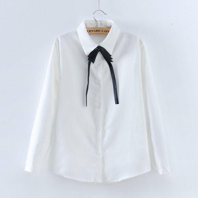 Mode coréenne Vêtements 2017 Printemps Automne Élégant Chemisier Blanc Femmes Tops Arc-Noeud Chemise Taille S-XL Bureau T-shirts Décontractés Blouse