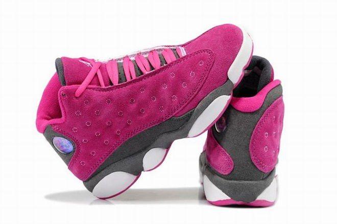 pink grey and white jordan 13