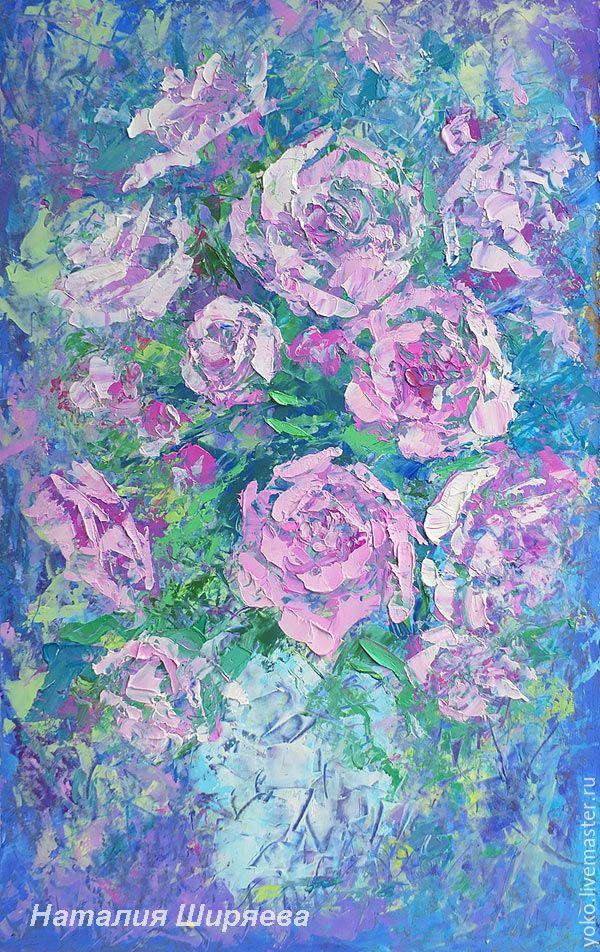 """Купить """"Букет Роз в Холодных Тонах""""- картина маслом с цветами - голубой, бирюзовый, розы"""