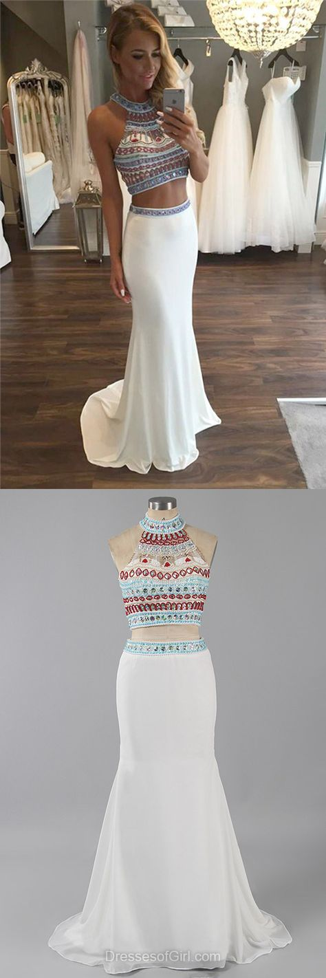 Two Piece Prom Dress, Long Prom Dresses, White Evening Gowns, Sheath Party Dresses, Chiffon Formal Dresses