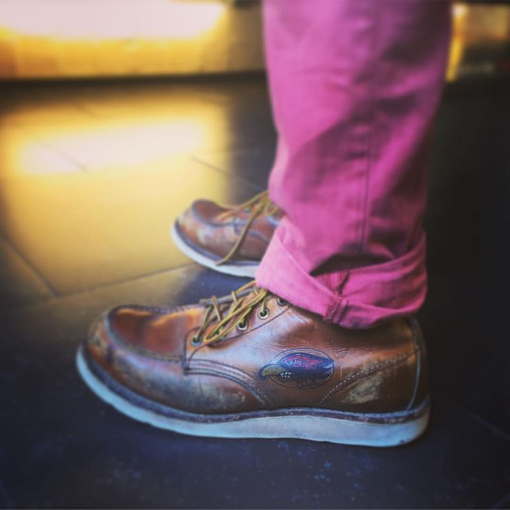 """Look at these beautiful custom tattooed Red Wing Shoes 875 6"""" Classic Moc Oro-Iginal of Mark Scholl! Anyone else who has his Red Wing Shoes tattooed? 