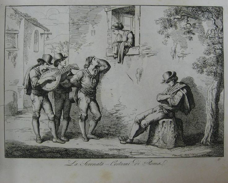 La serenata - Costumi so Roma [Серенада - римские костюмы] // Nuova raccolta di cinquanta costumi pittoreschi. Roma, 1816. Бартоломео Пинелли (1781-1835) #antiquebook #devisu #eauforte