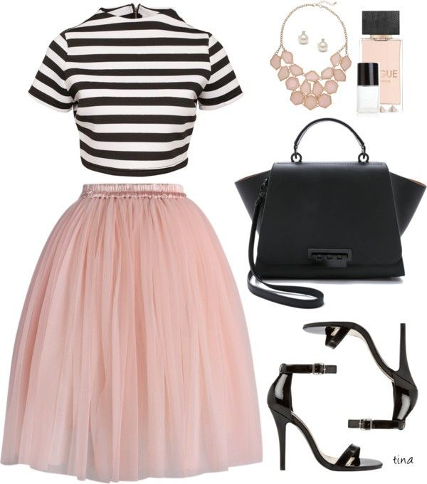 dusky pink tulle skirt with black and white stripey top