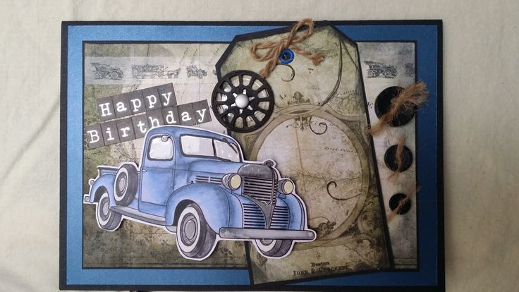 The truck image found online. Coloured with Promarkers. Embellishments: buttons, burlap strands, brads, eyelet, tag