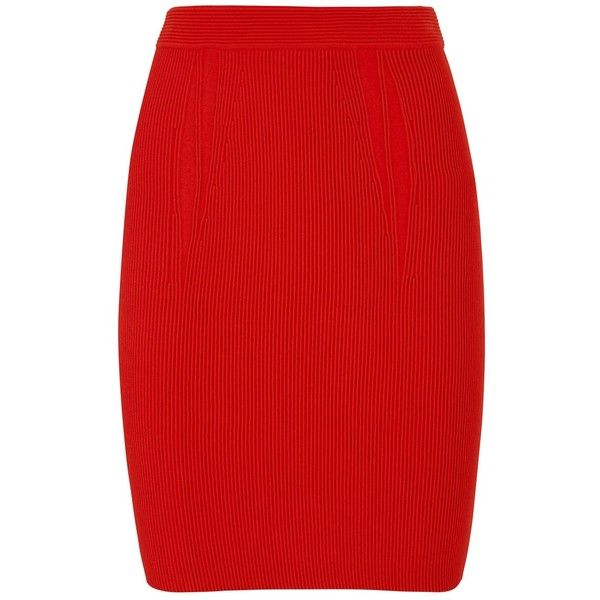Alexander Wang Red knitted jersey pencil skirt ($540) ❤ liked on Polyvore featuring skirts, bottoms, red pencil skirts, red jersey, jersey pencil skirt, high waist knee length pencil skirt and pull on pencil skirt