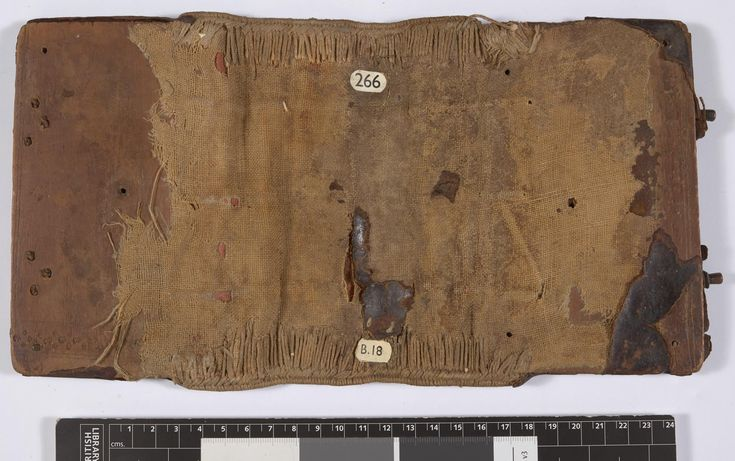 W7: (Add MS 28821/1, public domain, BL) Typically, the best moment to explore the inner workings of medieval bookbinding is during restoration, when the binding is removed and the details are revealed. Here we see  link-stitch chains remain in the spine area from a Byzantine manuscript.