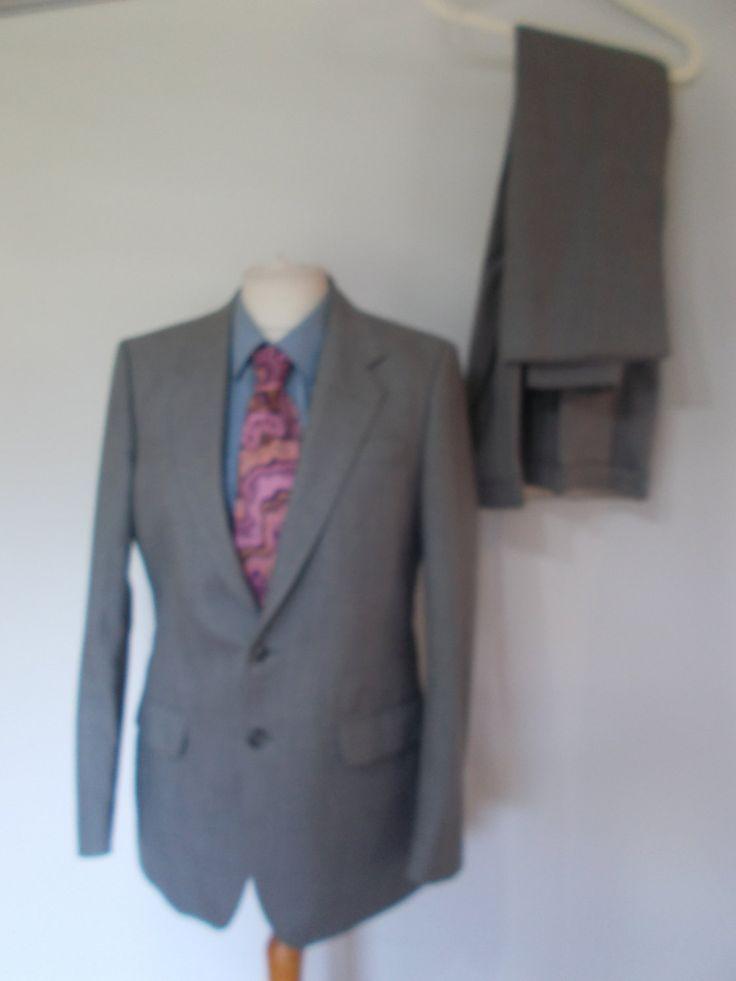 """Vintage mens suit Wellington Executive grey Pure New Wool mens suit size chest 40""""R waist 36"""" leg 31"""" by BidandBertVintageMen on Etsy"""