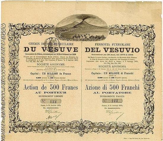 Chemin de Fer Funiculaire du Vésuve / Ferrovia Funicolare del Vesuvio  Paris, 31 January 1879, Action de 500 Francs, #122, 27 x 30.8 cm