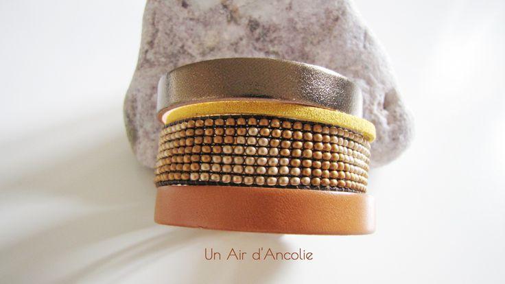 Bracelet Manchette en Cuir - Boho chic - Bronze Métallisé, Camel, Jaune, Doré