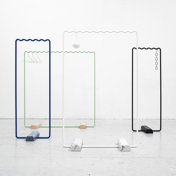 The pair are graphic designers at heart (remember Erik's Designbuss?), and the clothes hanging system is organised around the aesthetically pleasing sine wave...