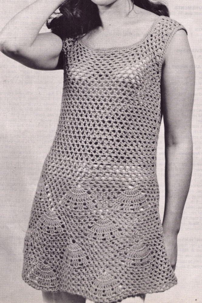 VINTAGE 60S WOMENS FLARED TUNIC BEACH DRESS SIZE 34-36 BUST 8PLY CROCHET PATTERN