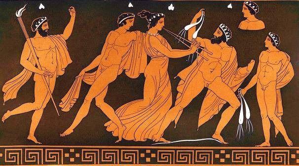 Foliões dionisíacos, pintura em vaso grego                                                                                                                                                                                 Mais