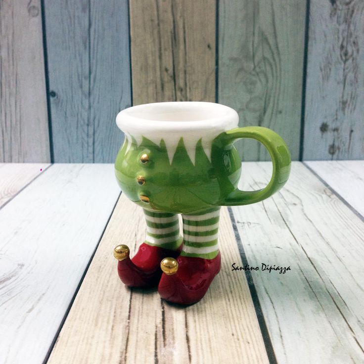 Elf Espresso Cup, Christmas Table Decoration, Santa Claus Little Helper, Handmade Italian Cup, Walking Pottery, Novelty Ware, Cup With Legs by WalkingPottery on Etsy