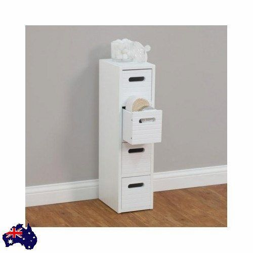 Slim Storage Cabinet Laundry 4 Drawer Bathroom Bedroom Storage Store White NEW