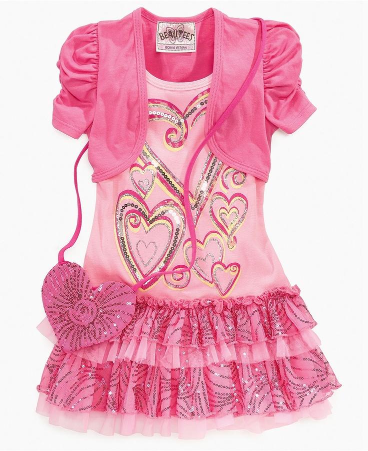 Beautees Girls Dress, Little Girls Shrug Heart Tutu Dress and Bag - Kids - Macy's