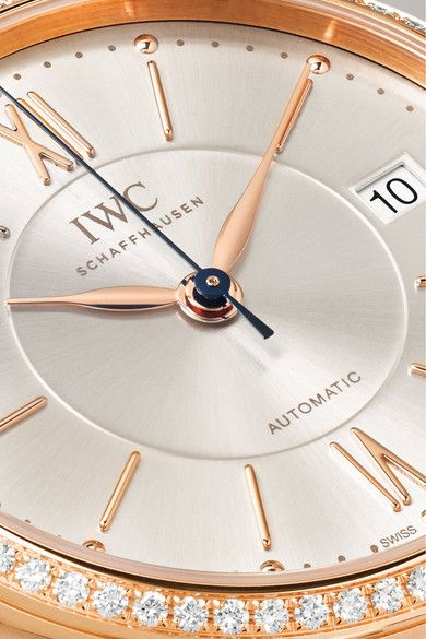 IWC SCHAFFHAUSEN - Portofino Automatic 37 Alligator, 18-karat Red Gold And Diamond Watch - Rose gold - one size