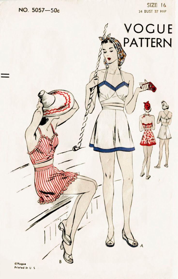 1940s 40s vintage Vogue sewing pattern bust 34 crop top playsuit swim bathing suit beach romper swimwear