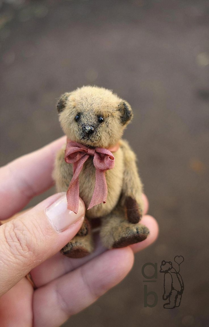Puddin, 7cm Mini Miniature Artist Teddy Bear by Aerlinn Bears