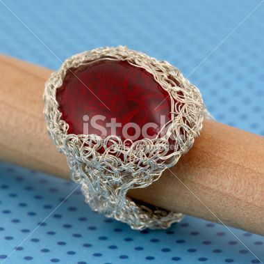 Silver Wire Crochet Ring Royalty Free Stock Photo
