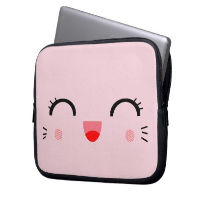 girly cute kawaii cartoon smiley happy face laptop sleeve - girly gift gifts ideas cyo diy special unique