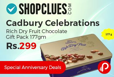Shopclues #Special #Anniversary #Deals is offering 25% off on Cadbury Celebrations Rich Dry Fruit Chocolate Gift Pack 177gm at Rs.299 Only. Perfect for special occassions and gifting – this special edition tin box contains mouth watering chocolate nutties like Cadbury Almond, Cadbury Nut Butterschotch and Cadbury Raisin Magic.   http://www.paisebachaoindia.com/cadbury-celebrations-rich-dry-fruit-chocolate-gift-pack-177gm-at-rs-299-only-shopclues/