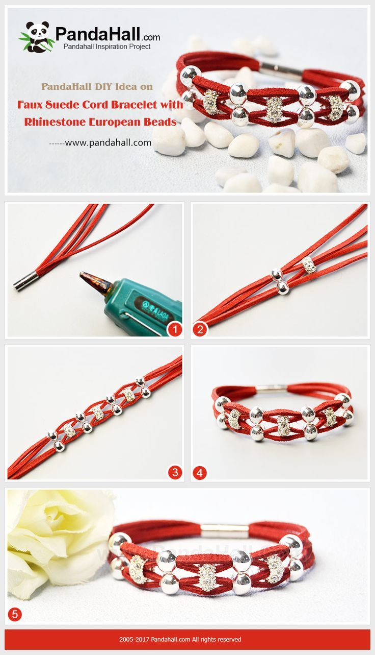 PandaHall Christmas Gift Idea on Faux Suede Cord Bracelet with Rhinestone European Beads Sometimes the design of the jewelry needn't be complex and instead the simple style gains more people's love. So, today we will share with you a simple way to quickly make a cord bracelet. #PandaHall #bracelet #cords #rhinestonebeads #jewelrymaking #craft #diyjewelry #tutorial #Christmasgift