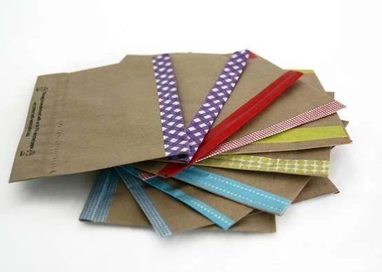 kraft envelopes with washi paper tape - Decorative Envelopes