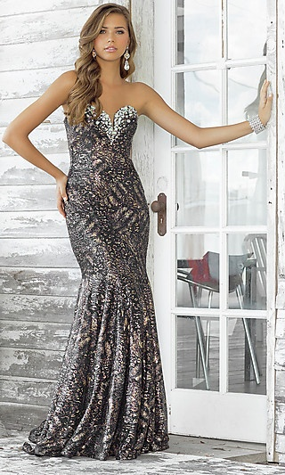 Long Strapless Print Formal Gown by Blush