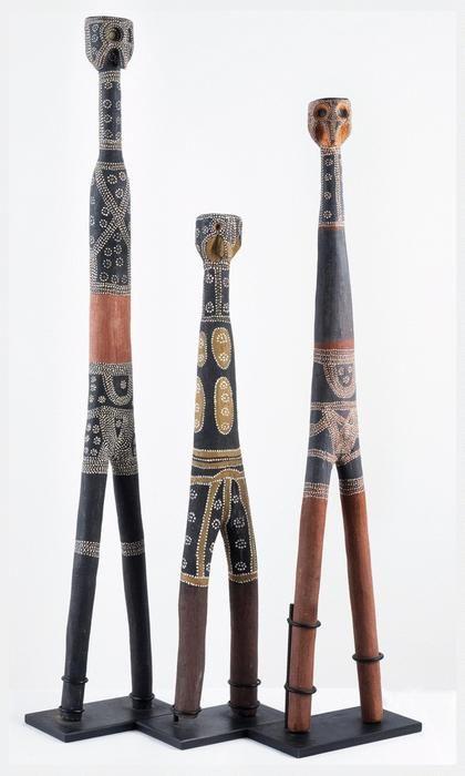 Aboriginal Artist Unknown, , Three Jhawayn (Jarwon) Totemic Figures Arnhem Land