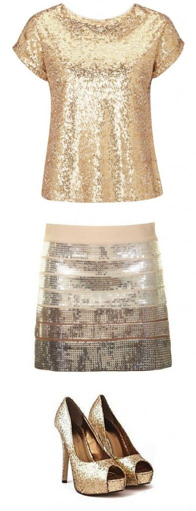 Sequin outfit #shirt #skirt #heels