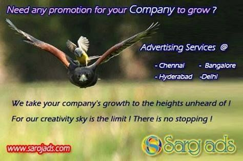 Saroj Ads (sarojads.com) takes your company's growth to the heights unheard of ! For our creativity sky is the limit! There is no stopping!