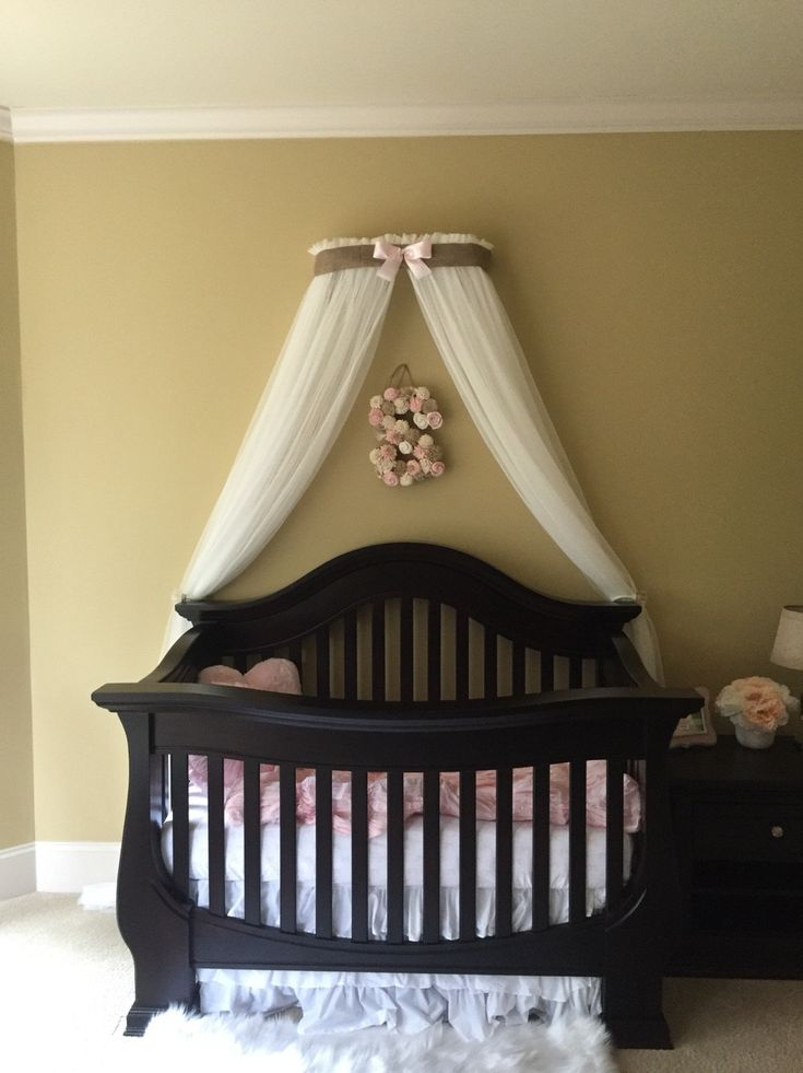 Crib Canopy Crown Gender Neutral Bed Pink Burlap Linen Nursery And WHITE Sheers Curtains INCLUDED Custom