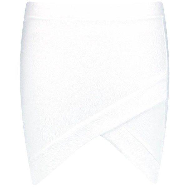 Boohoo Petite Lila Wrap Front Curved Hem Mini Skirt | Boohoo ($14) ❤ liked on Polyvore featuring skirts, mini skirts, short skirts, mini skirt, short white skirt, short mini skirts and curved hem skirt