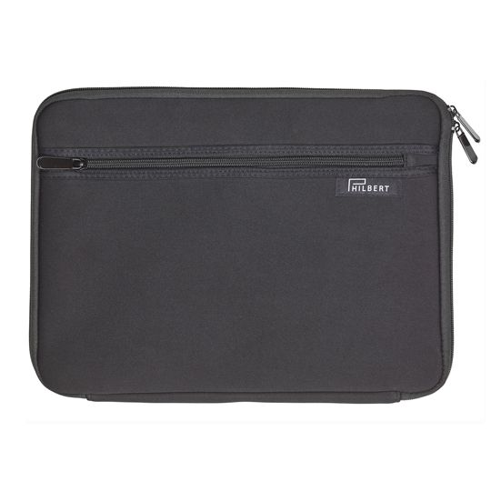 Sleeve for any 13″ Laptops, in black with black and white striped flaps. A unique sleeve, with foldable sides. The sleeve allows you to use your computer in the train, garden and other public places without worrying about the sun or your privacy.