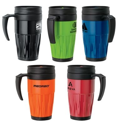 Cool Sporty look for the travel mug! Promotional Sovrano Tazza 14 oz. Travel Mug | Promotional Travel Mugs | Promotional Products