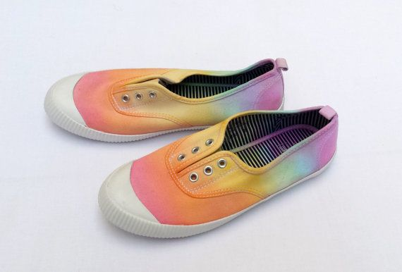 Rainbow Shoes Hippie Shoes Canvas Shoes in size 6 by AbiDashery
