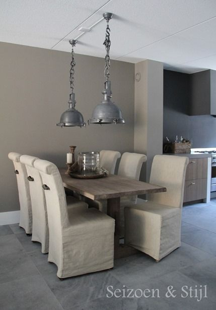 Love the combination of an industrial look and furniture in country style..