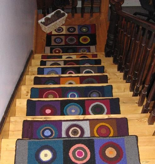 Made To Order Set of 12 Pennies Hooked Stair Treads by theoldloft